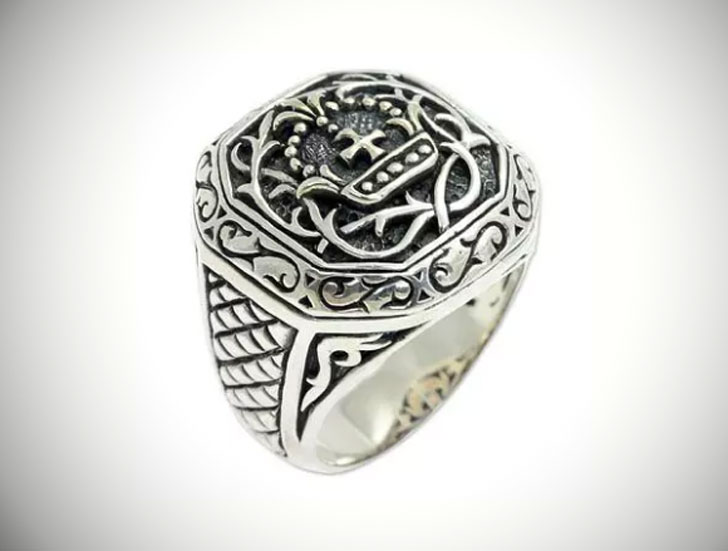 Mens Cardinal Sterling Silver Cross Signet Ring