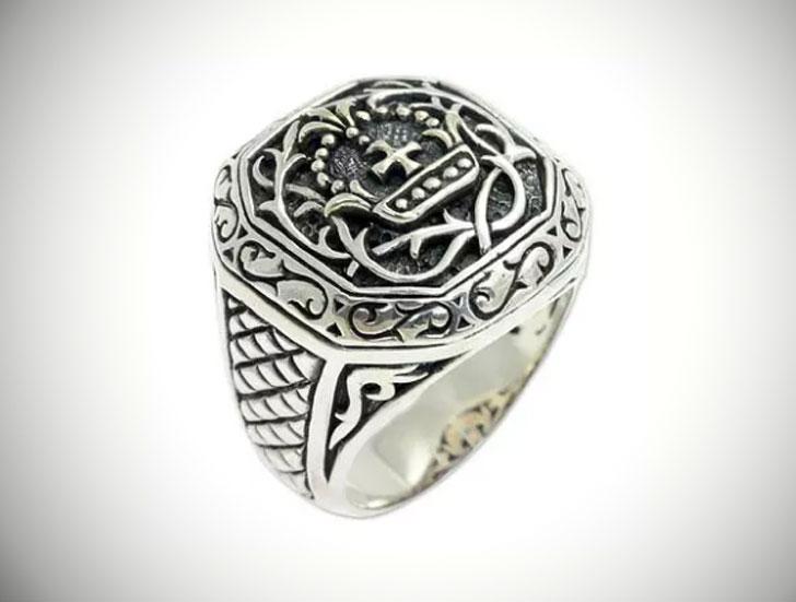 Mens Cardinal Sterling Silver Cross Signet Ring