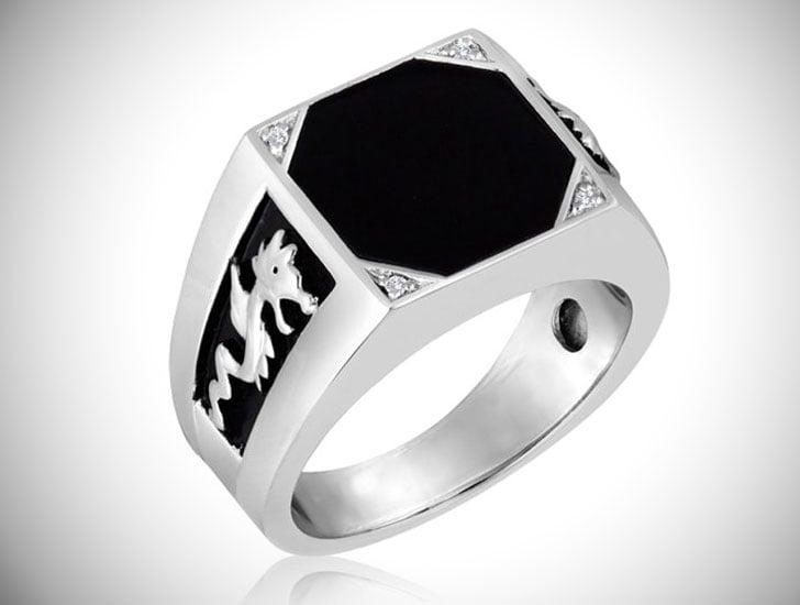 Men's Octagon Black Onyx Signet Ring - Signet Rings for Men