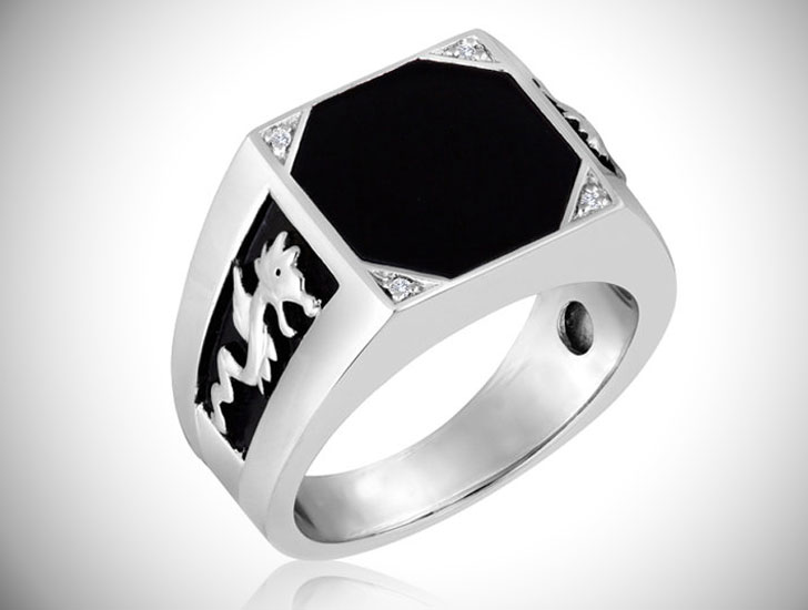 Men's Octagon Black Onyx Signet Ring - Signet Rings for Men