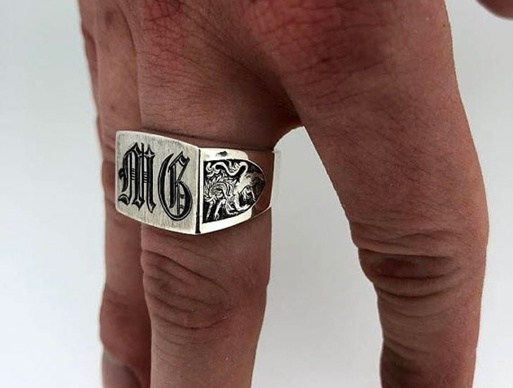 Mens Silver Vintage Style Monogram Ring - Signet Rings for Men