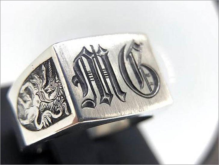 Mens Silver Vintage Style Monogram Ring