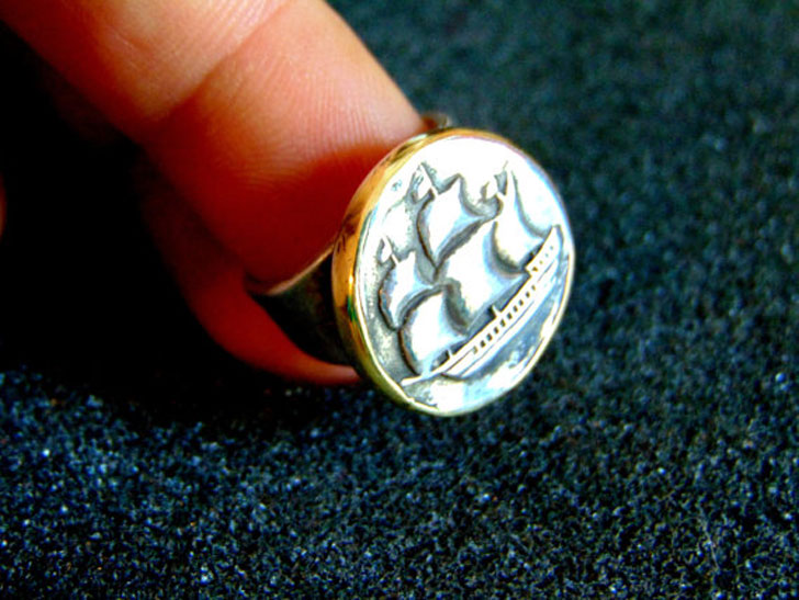 Men's Silver and Bronze Sailing Ship Statement Ring