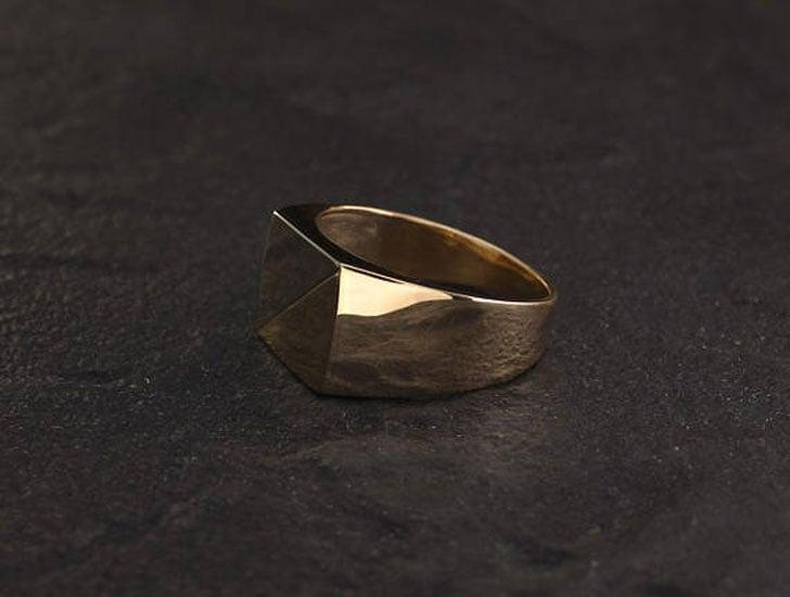 Men's Two Tone Gold Signet Ring