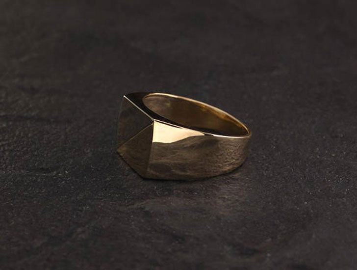 Men's Two Tone Gold Signet Ring
