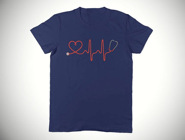 Minimalist Heartbeat Stethoscope T-shirt