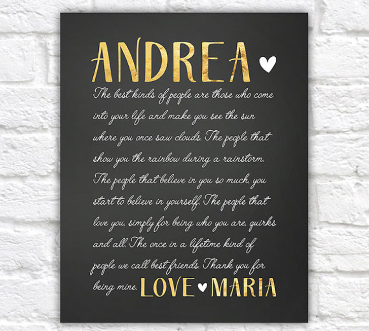 Personalised Gold And Black Cursive Letter For Best Friend