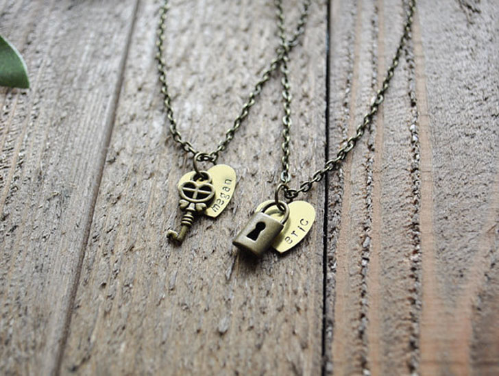 Personalized Couples Lock and Key Necklace Set