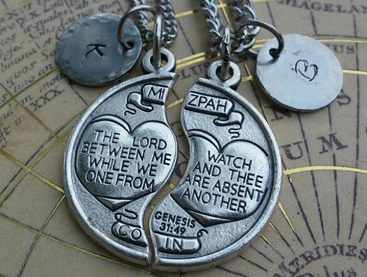 Personalized Couples Long Distance Necklaces