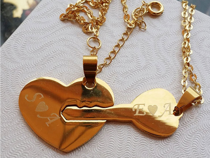 Personalized His and Hers Heart and Key Necklace Set