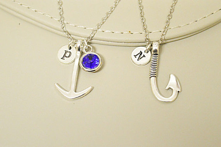 Personalized His and Hers Hook and Anchor Necklace Set