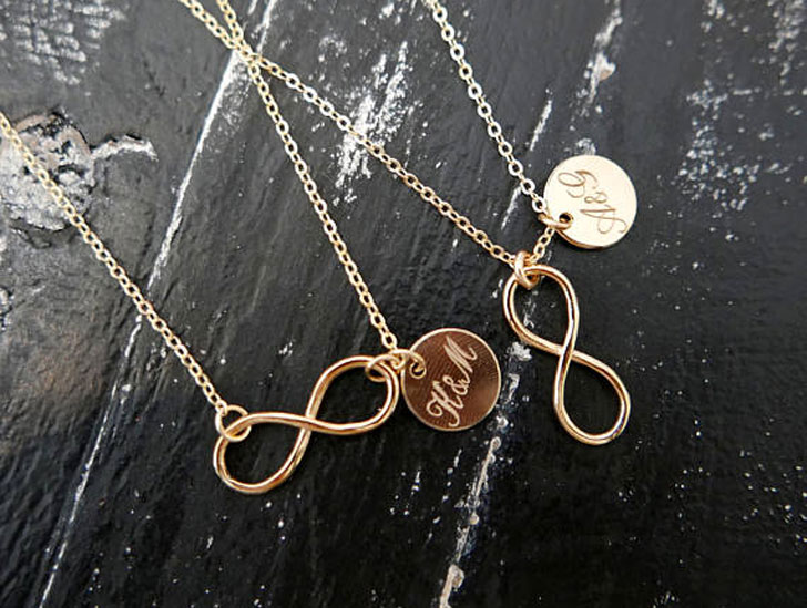 Personalized His and Hers Infinity Necklaces