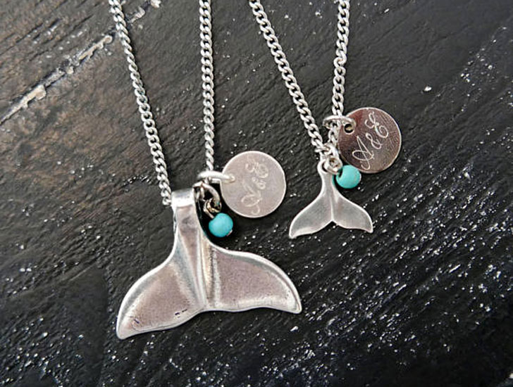 Personalized His and Hers Whale Tail Necklaces