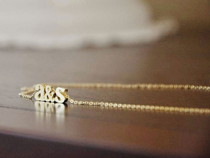 Personalized Initials Gold Tiny Alphabet Necklaces
