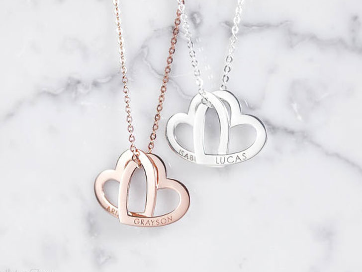 Personalized Interlocking Heart Necklaces
