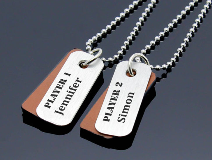 Personalized Player1 and Player 2 Necklaces
