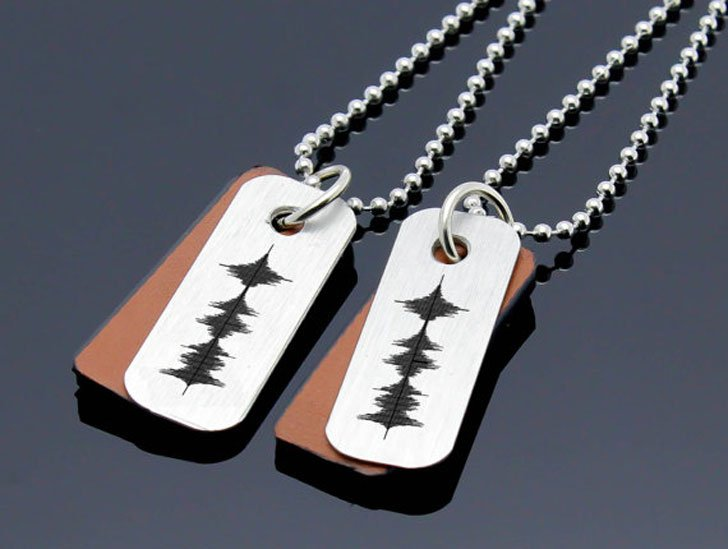 Personalized Sound Waves Necklaces Boyfriend and Girlfriends