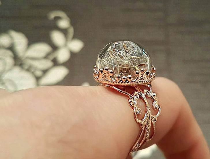 Real Dandelion Terrarium Ring