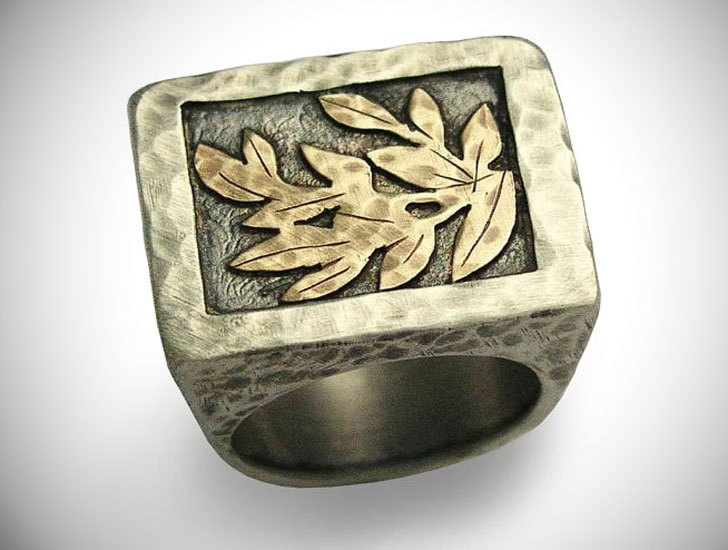 Rustic Leaf Signet Ring - Signet Rings for Men