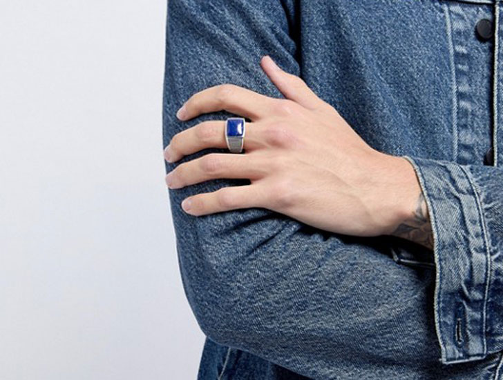 Seven London Sterling Silver Blue Stone Signet Ring