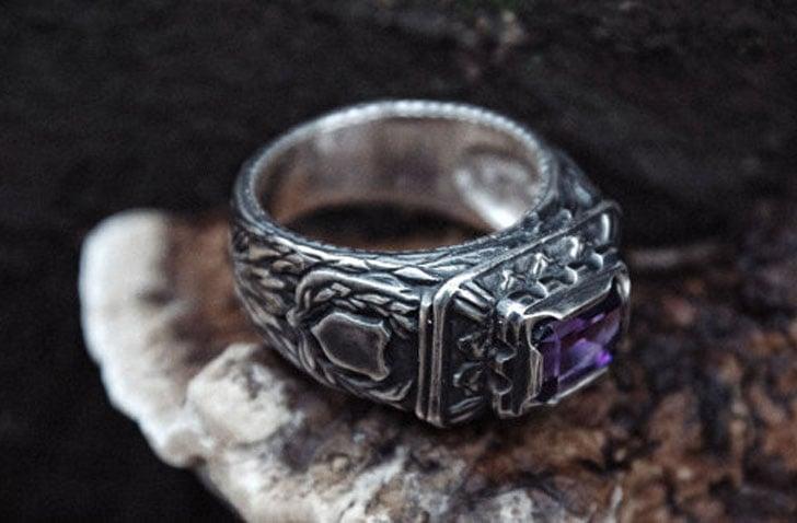 Silver Amethyst Signet Ring