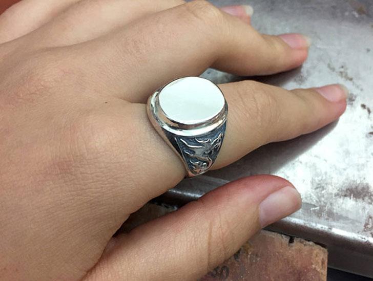 Silver Dragon Signet Ring
