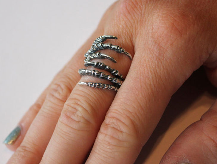 Silver Raven Talon Claw Wrap Ring