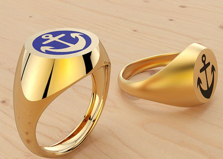 Solid 14k Anchor Design Signet Ring - Signet Rings for Men