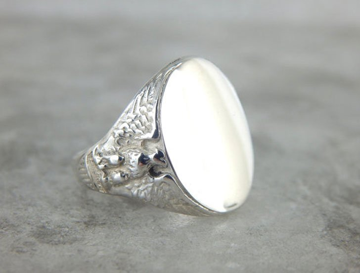 Sterling Silver American Flag and Eagle Signet Ring