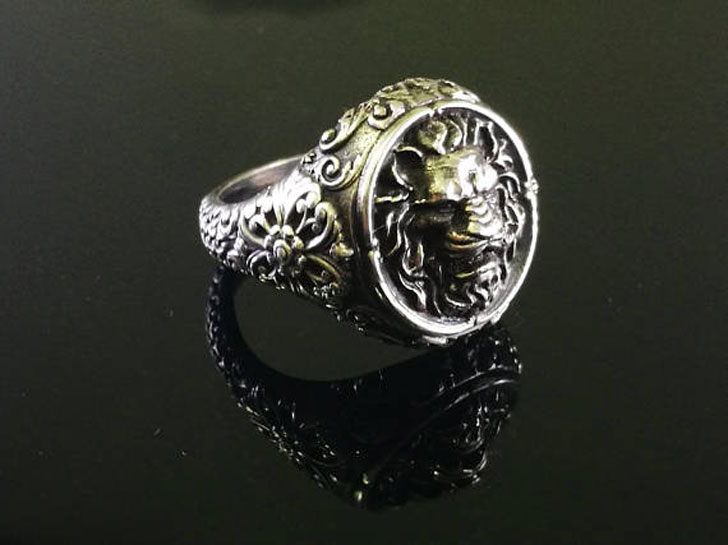 Sterling Silver Art Nouveau Lion Head Signet Ring