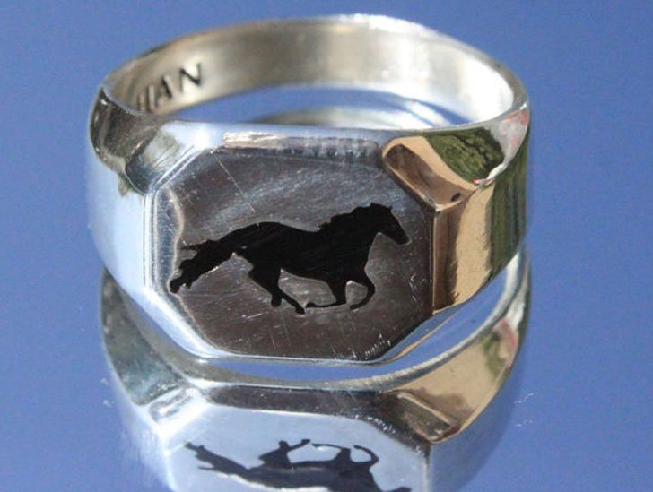 Sterling Silver Horse Signet Ring
