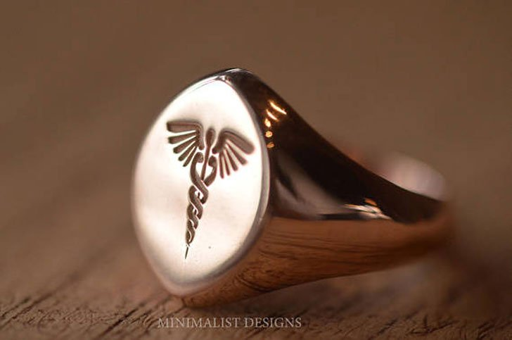 Sterling Silver Marquise Signet Ring - Signet Rings for Men