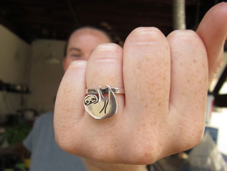 Sterling Silver Sloth Ring- unusual rings