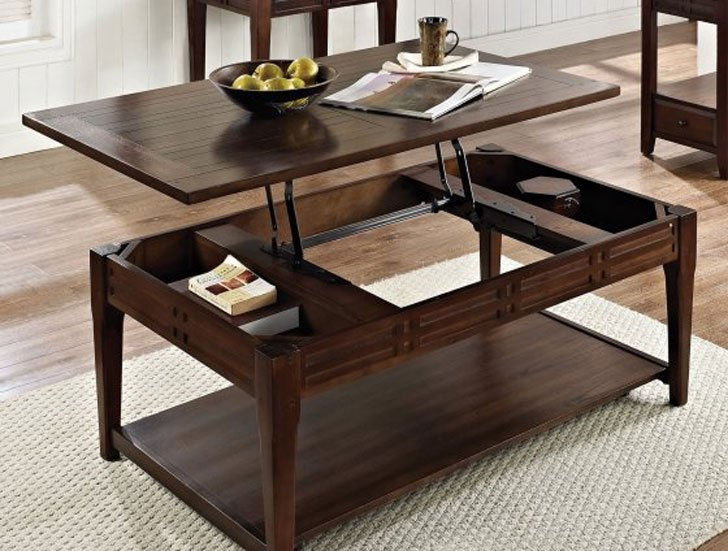 Charmant Wood Lift Top Coffee Table With Casters