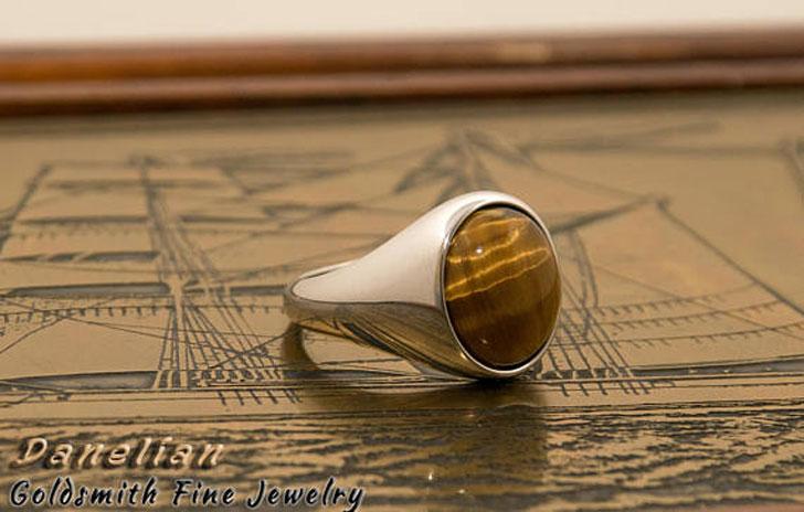 Tiger Eye Signet Ring