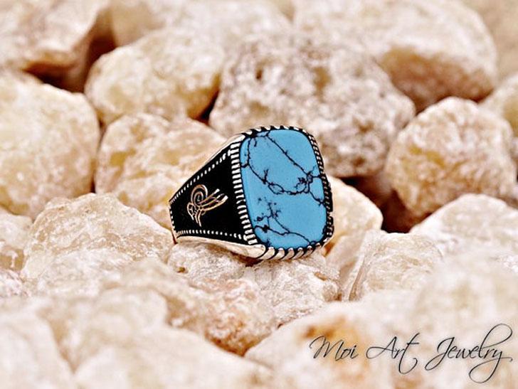 Turquoise Stone Signet Ring