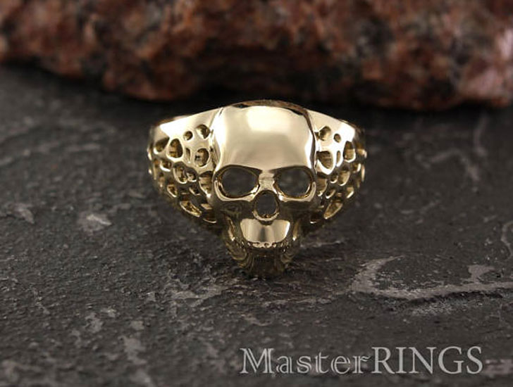 Unique Gold Skull Signet Ring - Signet Rings for Men