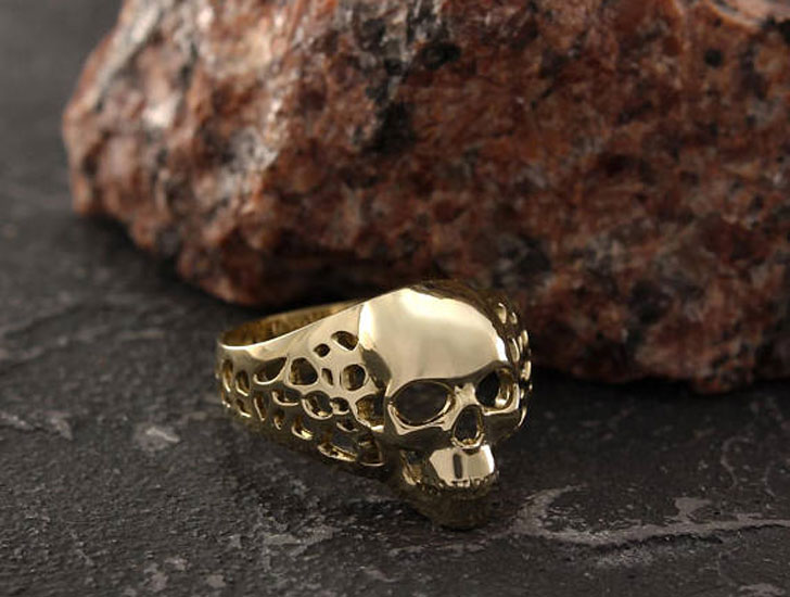 Unique Gold Skull Signet Ring