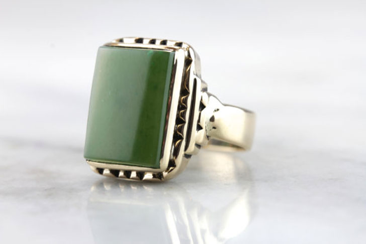 Vintage Jade Mens Signet Ring