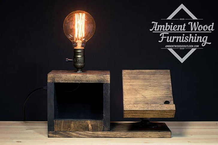Wooden Bedside Utility Storage Box Lamp