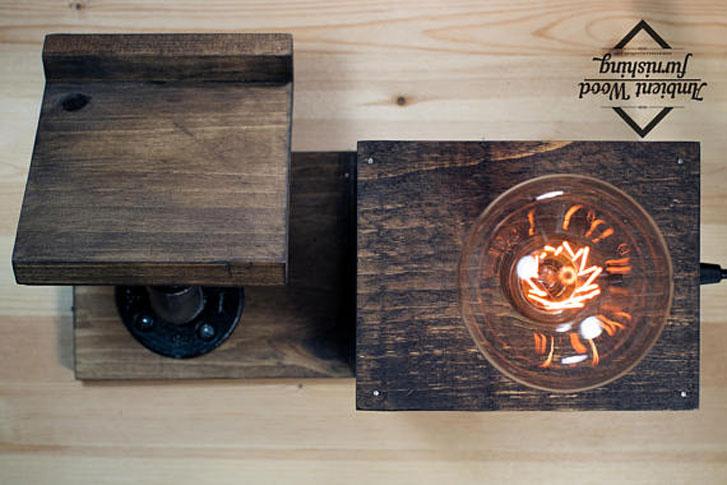 Wooden Bedside Utility Storage Box Lamp