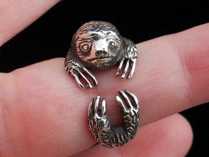 Wrap Around Silver Sloth Ring