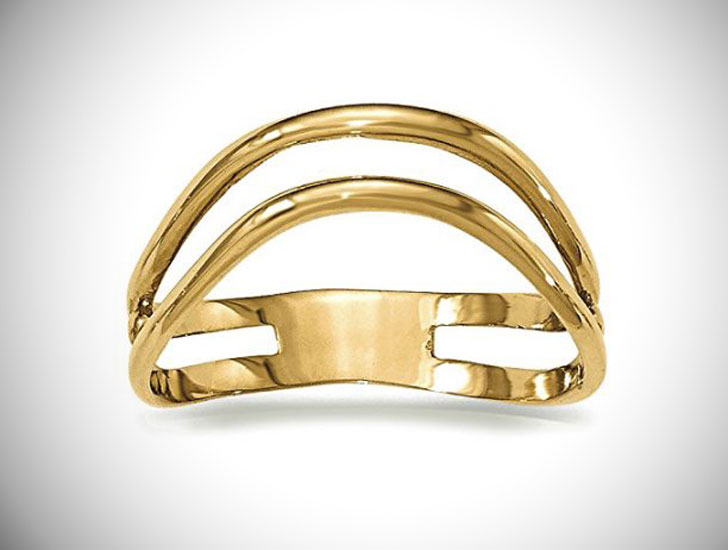 14K Yellow Gold Double Wave Thumb Ring