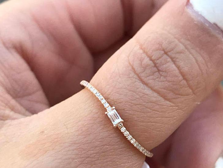 14kt Rose Gold Emerald Diamond Thumb Ring