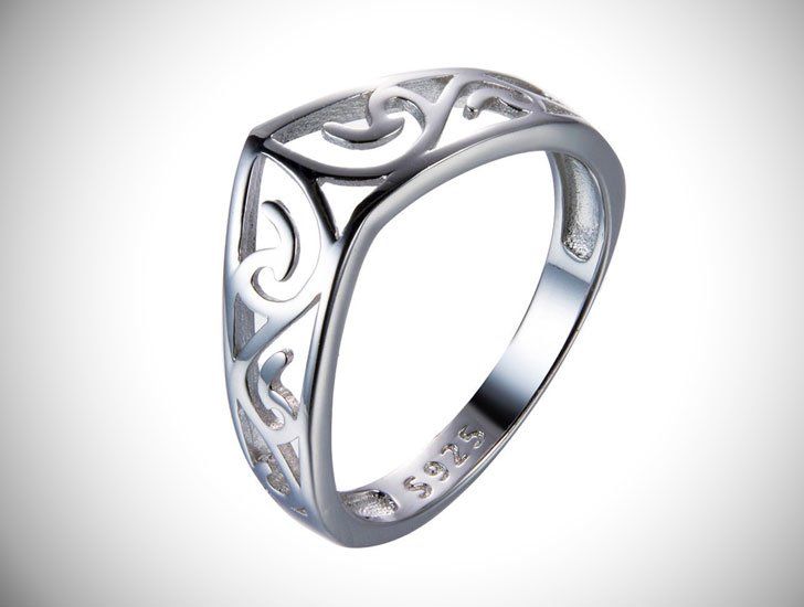 925 Sterling Silver Hollow Out Chevron Thumb Ring