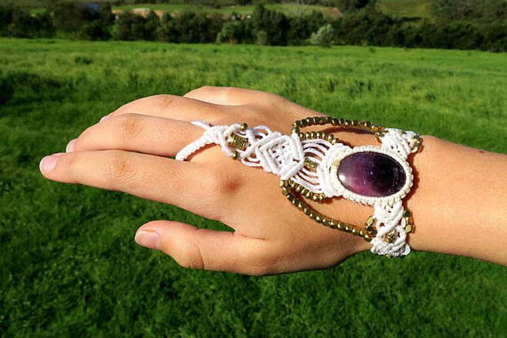 Amethyst Macrame Slave Bracelet
