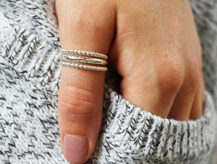 Bee Band Stack Thumb Rings