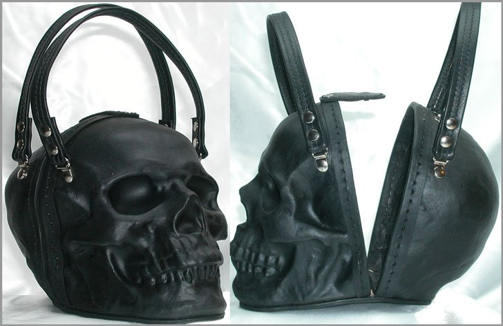 Black Leather Skull Purse Clutch