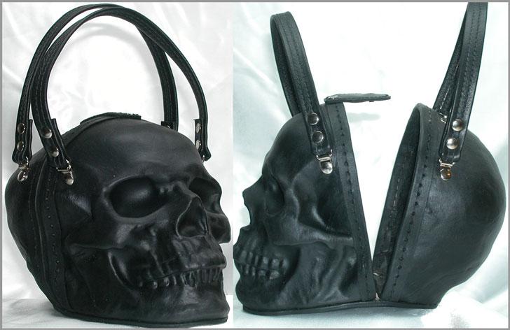 Black Leather Skull Purse Clutch