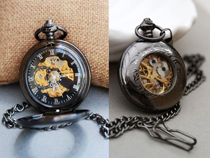 Black Personalized Mechanical Pocket Watch